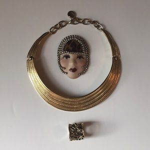 Gold costume jewelry bundle of 3